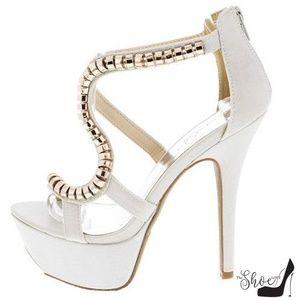 The Shoe Loft Shoes - Asia Silver Open Toe Platform Strappy Heels